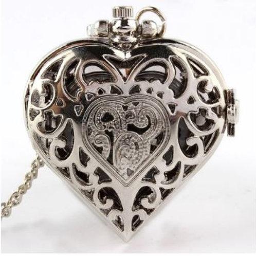 Silver Latch Heart Large Pocket Watch