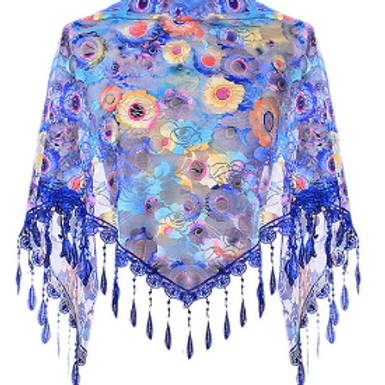 Royal Blue Floral Lace Triangle Scarf