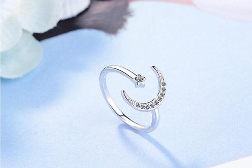Crescent Moon Adjustable Ring
