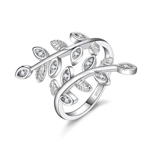 Iced Leaves Adjustable Ring