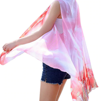 Light Coral Ombre with Dark Coral Feathers Scarf Vest