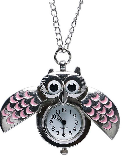 Pink Owl Small Pocket Watch