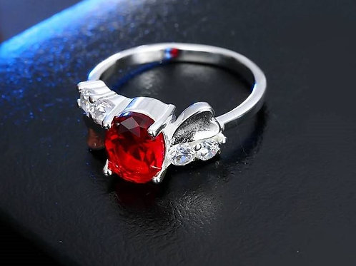 Blushing Red Heart Ring