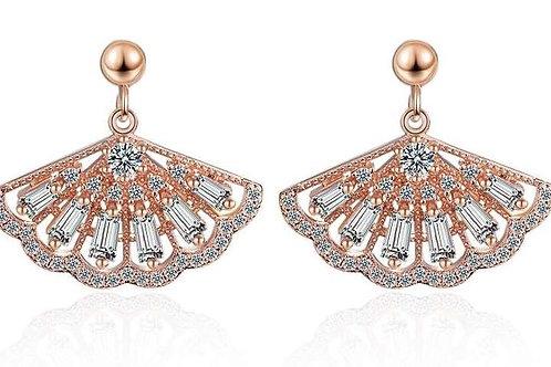 Rose Gold Fan Earrings