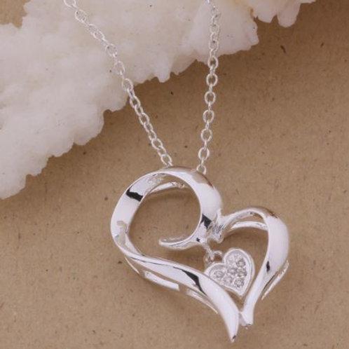 Double Heart Dangle Necklace