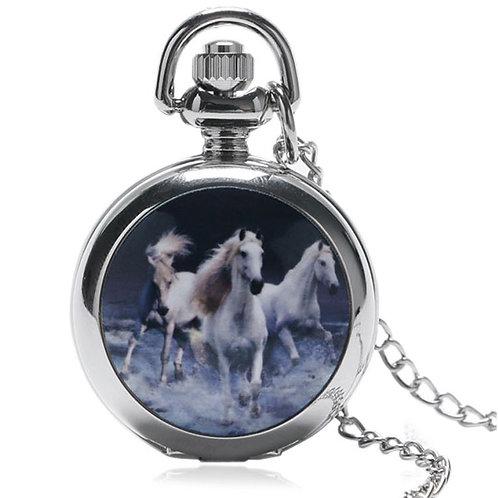 Running Horses Small Pocket Watch