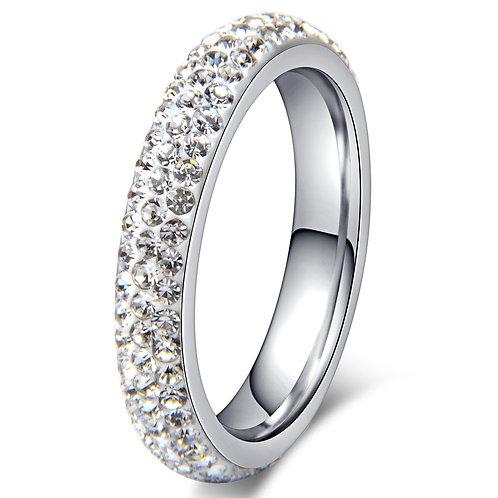 Crystal 3 Row Ring