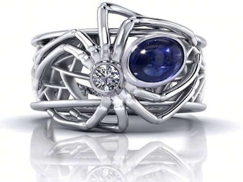 Blue Spider Web Ring