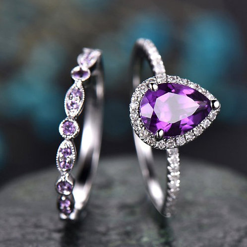 Purple Tear Drop Ring Set