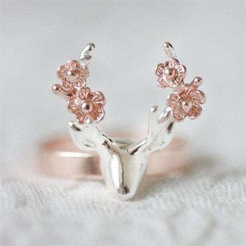 Rose Flower Deer Ring