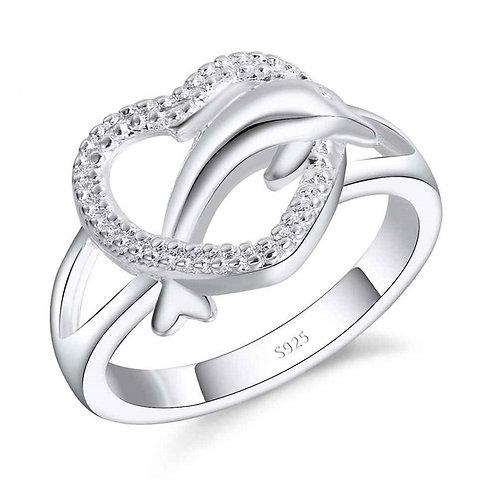 Heart & Dolphin Ring
