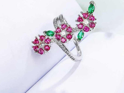 Pink Flowers in a Row Ring