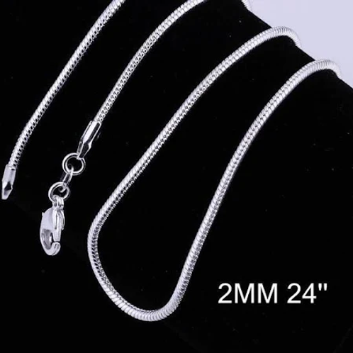 """24"""" 2MM Silver Snake Chain"""