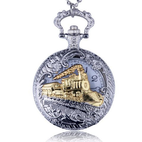 Gold Locomotion Large Pocket Watch