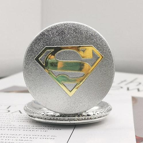 Superman Silver & Gold Large Pocket Watch