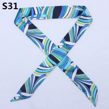 Blue Abstract Short Skinny Scarf