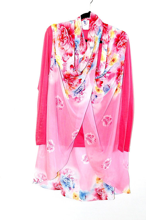 Pink with Blue & Yellow Flowers Scarf Vest