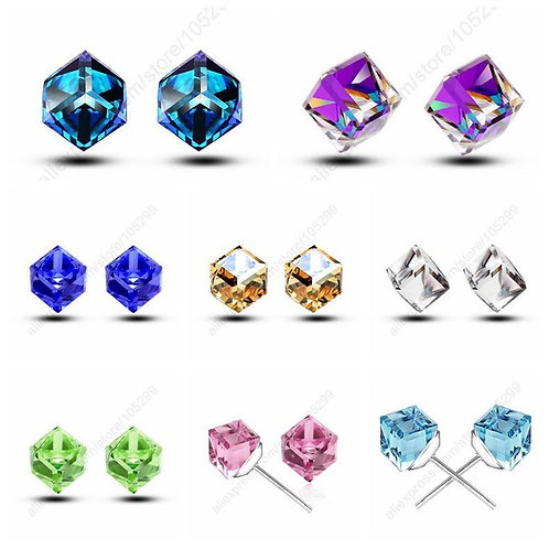 Cube CZ Stud Earrings