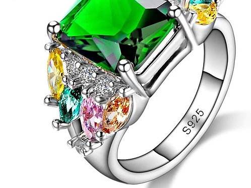 Green Emerald Cut & Multi Ring
