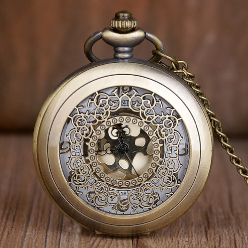 Antique Bronze Lace & Gold Large Pocket Watch