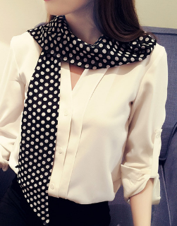 Narrow Long Scarf - Black and White Dot.