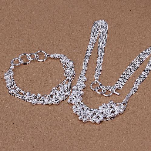 """You Design"" Silver Ball Bracelet & Necklace"