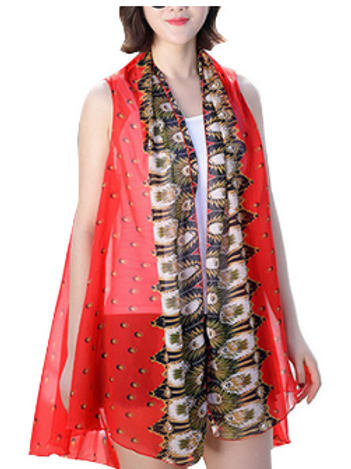 Red Feather Border Scarf Vest