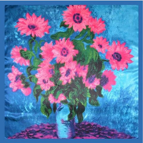 Satin Large Square - Pink Flowers