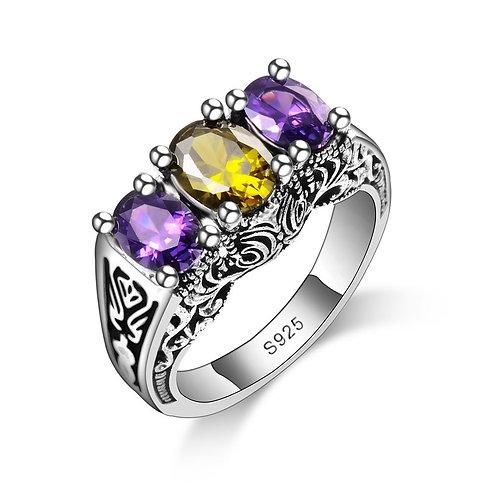 Lemon Yellow & Purple Medieval Ring
