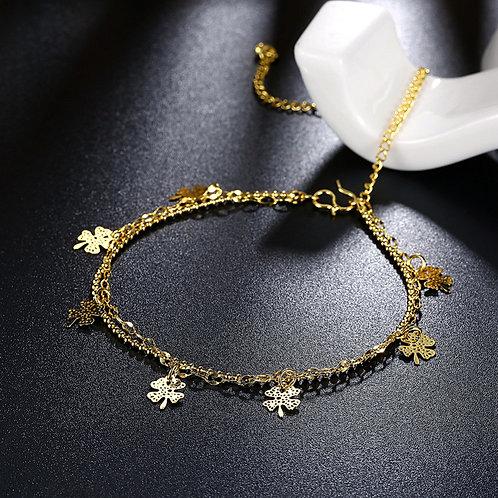 Lucky 4 Leaf Clover Gold Anklet