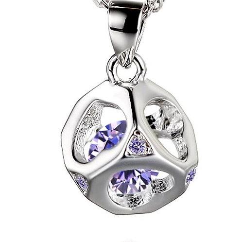 Purple Heart Cube Necklace