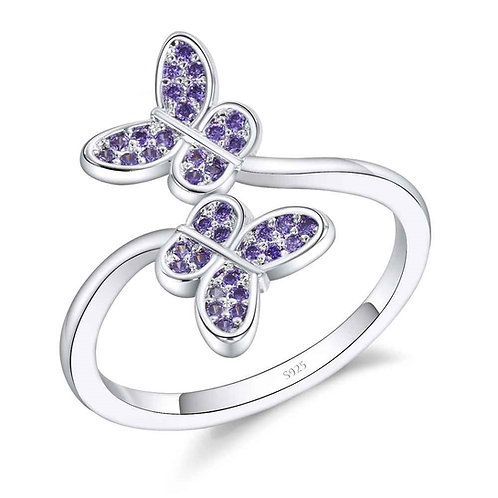 Purple Butterflies Adjustable Ring
