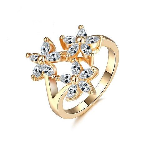 Triple Flower Gold Ring