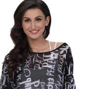 Batwing Sleeve Blouse - Black and White
