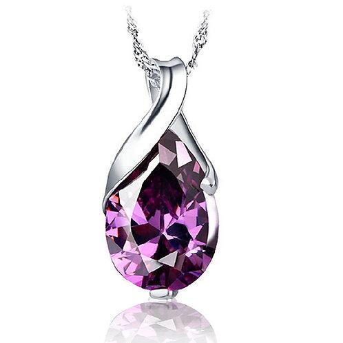 Royal Purple Water Drop Necklace