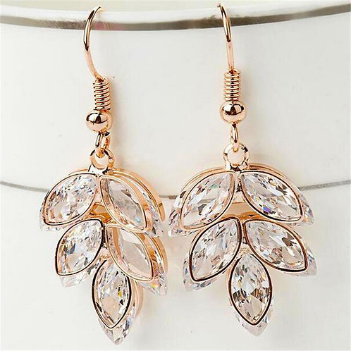 Rose Gold Bohemian Crystal Leaf