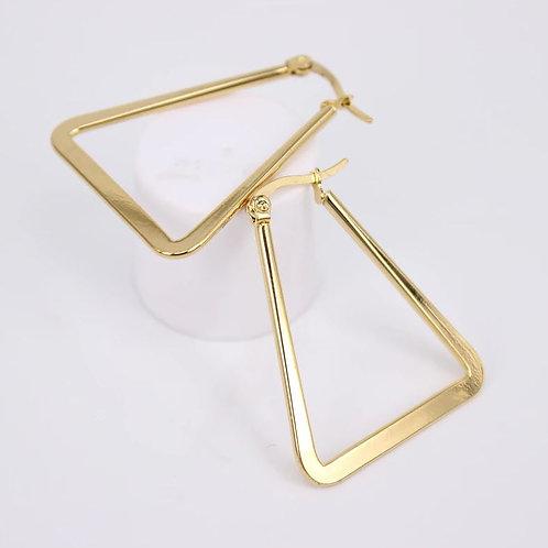 Flat Botton Triangle Stainless Steel Earrings