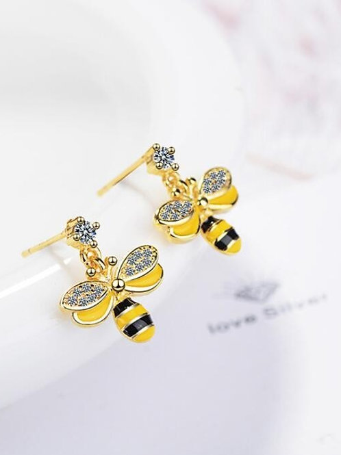 Small Gold Bumble Bee Dangles