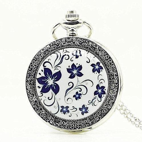 Blue Flower Large Pocket Watch