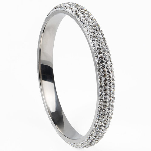Crystal 5 Row Stainless Steel Bangle