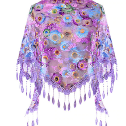 Purple Floral Lace Triangle Scarf