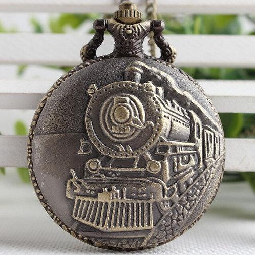 Steam Engine Train Large Pocket Watch