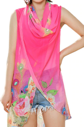 Hot Pink - Peacock & Flowers Scarf Vest