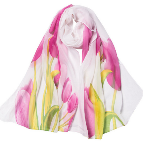 Spring Tulips Scarf - White & Pink