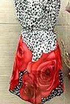 Red Roses on Black & White Animal Print Scarf Vest