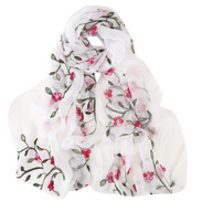 Stright - White Silk Pink Embroidered Fl
