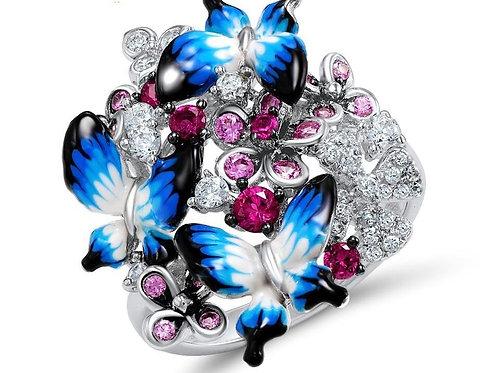 3 Blue Butterflies