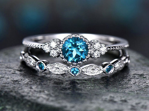 Turquoise & White Dainty Rings