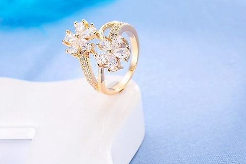 Two Gold Flowers Ring