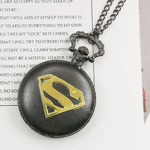 Superman Black & Gold Large Pocket Watch